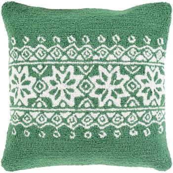 Designer Snowflake Green Pillow