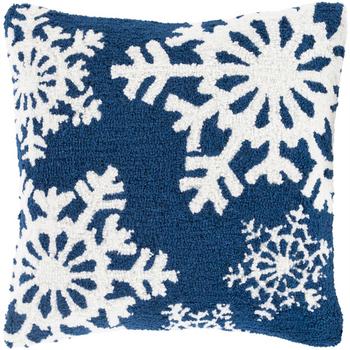 Designer Snowflakes Blue Pillow