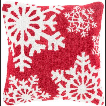 Designer Snowflakes Red Pillow