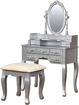 Koleyna Silver Vanity w/ Stool