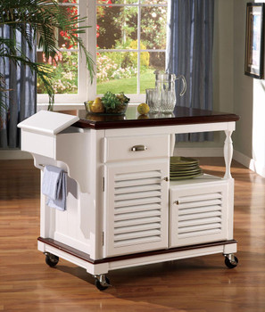 Cherry N White Kitchen Island Cart