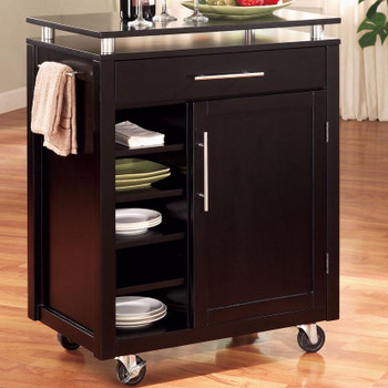 Contempo Black Kitchen Island Cart