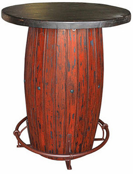 Red Rustic Round Bar Table