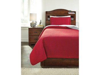 Aldon Red/Gray 2-Piece Coverlet Set
