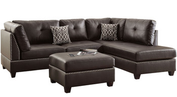 Arcata Espresso 3-PC Reversible Sectional With Ottoman