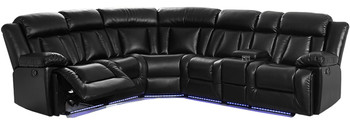 Jameson Black Reclining Sectional With LED/USB/ Storage Console