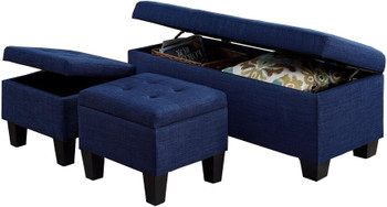 Hank Blue Bench & Ottomans