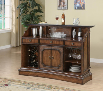 WAVERLY Medium Brown Storage Bar Unit with Marble Top