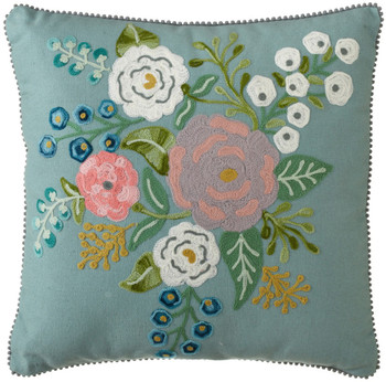 Light Blue Embroidered Floral Pillow
