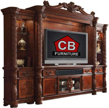"Crownwood Cherry 131"" Wide Wall Unit"