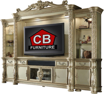 "Crownwood 131"" Wide Gold Wall Unit"