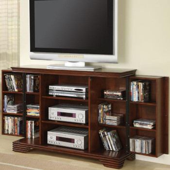 Dark Brown TV Console with Hidden Media Storage
