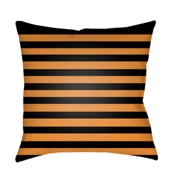 Amber Black and Orange Stripes Pillow