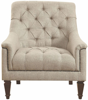 Mia Grey Tufted  Linen Arm Chair