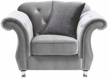Lanah Silver Velvet Tufted Arm Chair