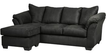 """EDELINE Black 89"""" Wide Sofa Chaise"""
