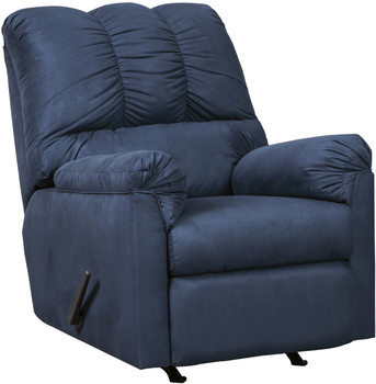 Edeline Royal Blue Plush Rocker Recliner