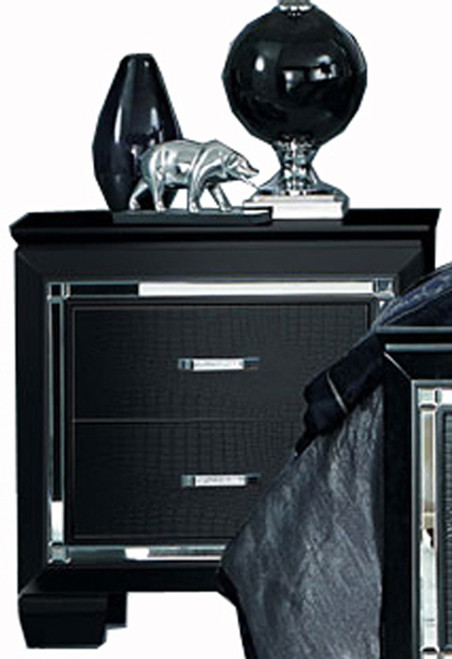 Annie Black Lighted LED Nightstand