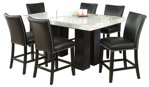 Valery Marble 7 Piece Black Counter Height Set