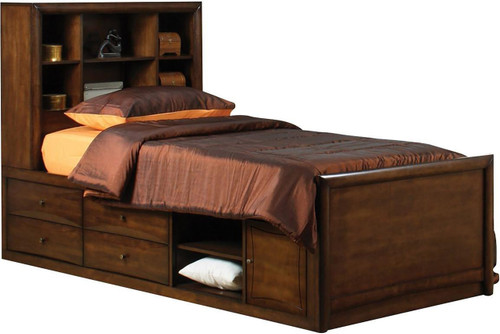 Fey Warm Brown Twin Bookcase Bed
