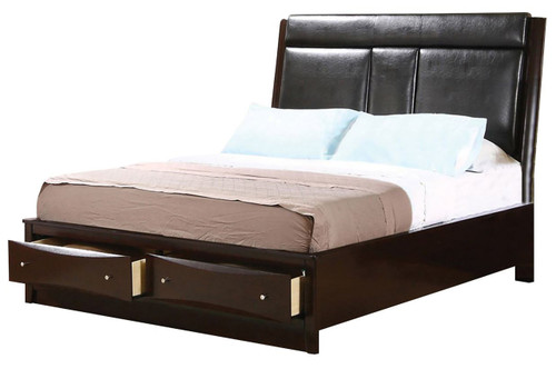 Fey Cappuccino Platform Bed with Console