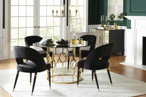 Serilda Black & Gold 5 Piece Dining Set