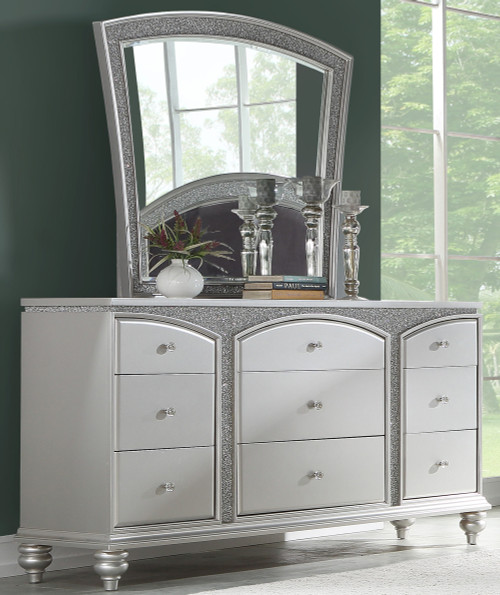 Precious Platinum Rhinestones Dresser & Mirror