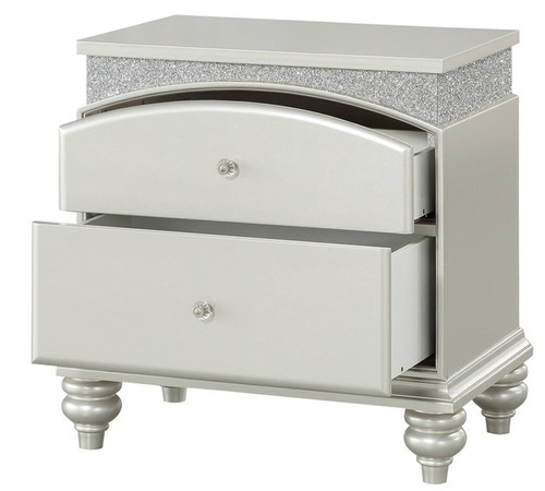 Precious Platinum Rhinestones 2 Drawer Nightstand