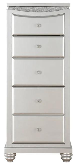 Precious Platinum Rhinestones 5 Drawer Lingerie Chest