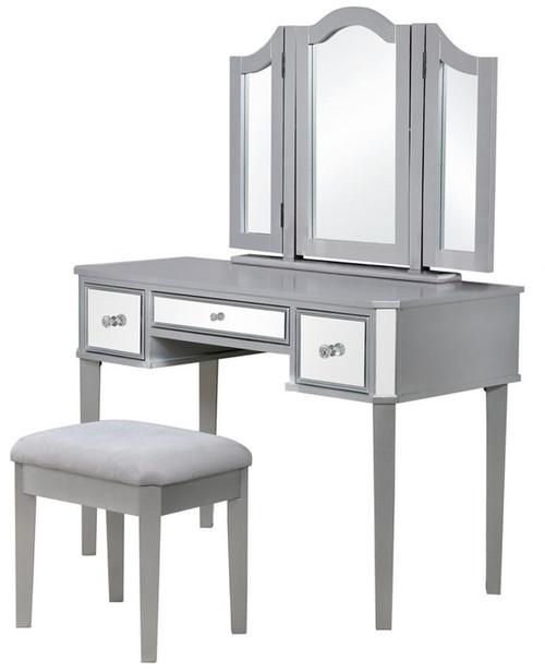 Virginia Mirrored Silver Vanity with Stool