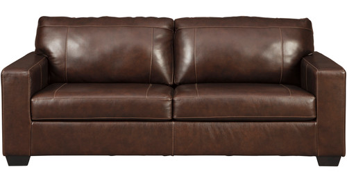 "RUIZ Brown 85"" Wide 100% Leather Sofa"