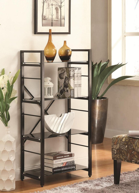 Olivia Black Bookshelf 4 shelves