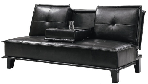 Fantastic Donald Black Leather Built In Cupholders Sofa Bed Alphanode Cool Chair Designs And Ideas Alphanodeonline