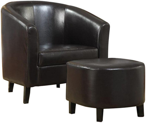 Pleasing Orlando Dark Brown Leather With Ottoman Ncnpc Chair Design For Home Ncnpcorg