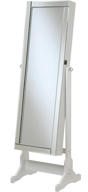 Aleta White Floor Mirror with Jewelry Storage