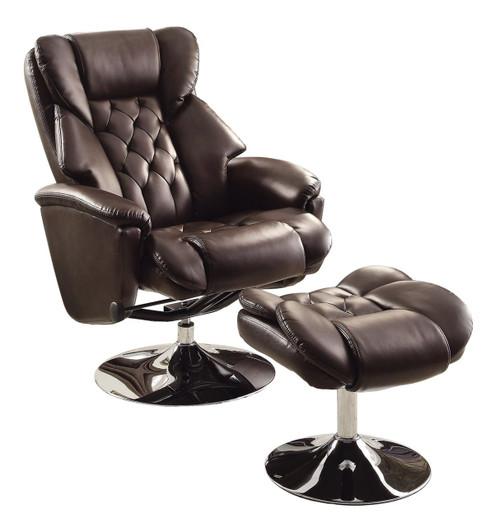 Basel Dark Brown Leather Swivel Reclining Chair W/Ottoman