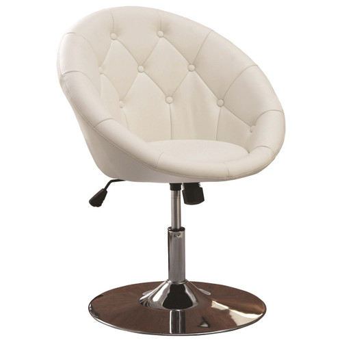 Bowl White Leather Swivel Chair
