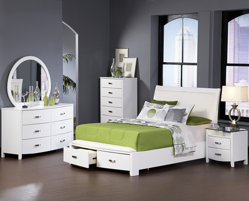Monet Glossy White Low Profile Bedroom