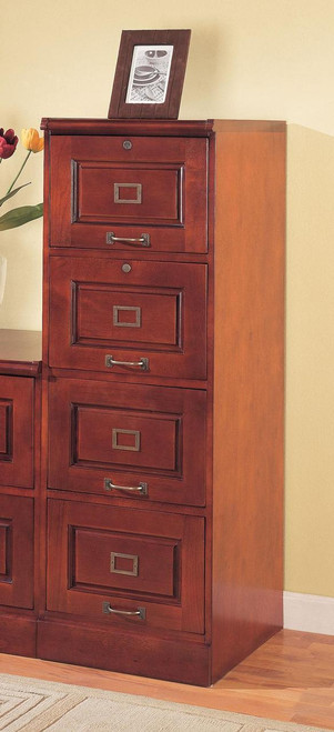Red Brown 4 Drawer File Cabinet