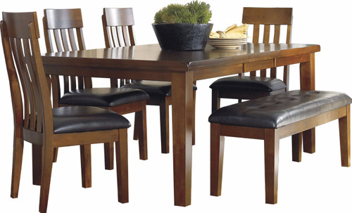 Nela Medium Brown 6 Piece Dining Set with Bench