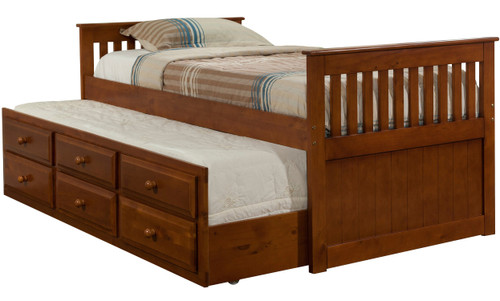 Hilda Medium Brown Trundle Bed with Drawers