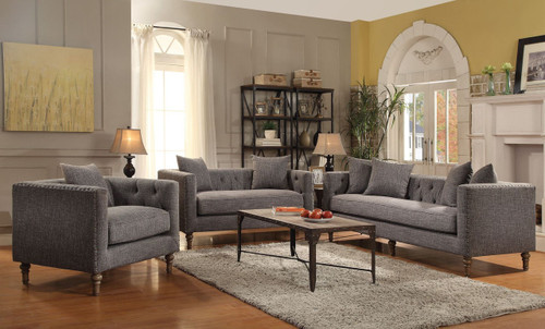 Aina Grey Fabric Sofa & Loveseat