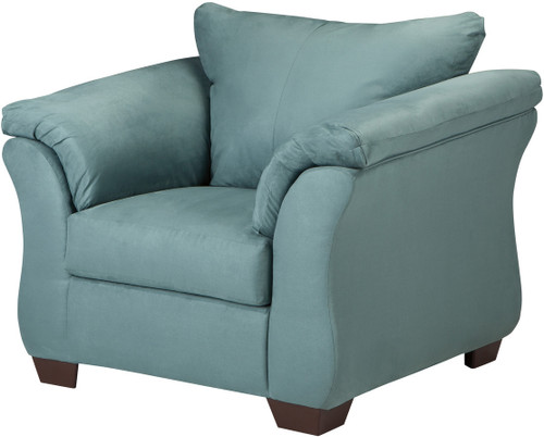 Edeline Sky Blue Plush Chair