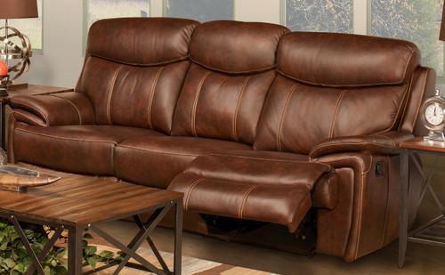 Legend Brown Top Grain Leather Reclining Sofa