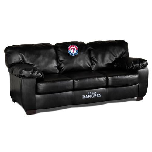 Texas Rangers Black Leather Sofa