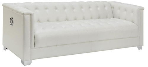 Luciana Pearl White Tuffted Sofa