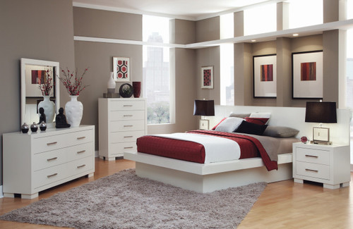 Andre White Bedroom with Built-In Night Stands