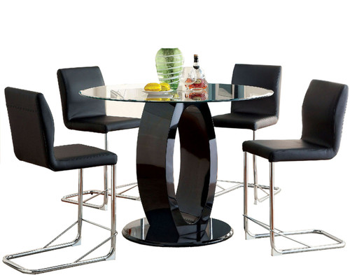 Ace Black 5 Pc Counter Height Set