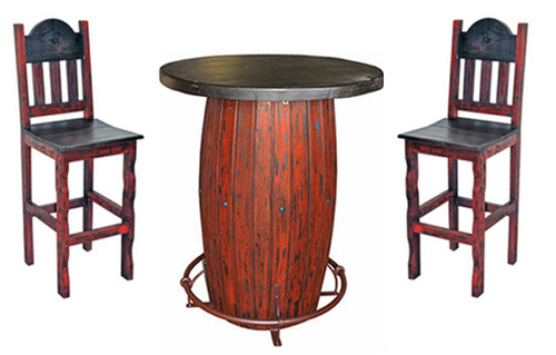 Red Rustic 3-PC Round Bar Table Set