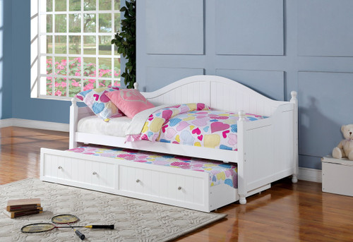 Evette White Twin Day Bed With Trundle